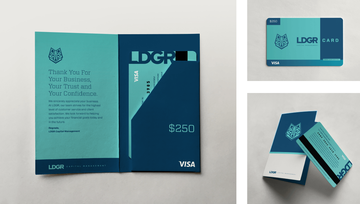 LDGR Capital Management branded gift card designed by Ozzmata