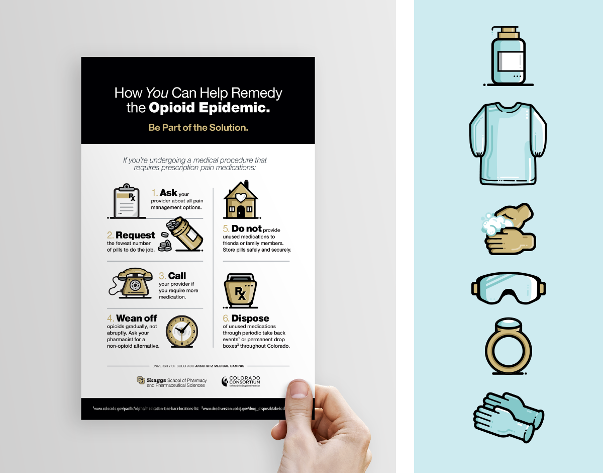 CU Skaggs School of Pharmacy, Ozzmata Infographic and Icon Designs
