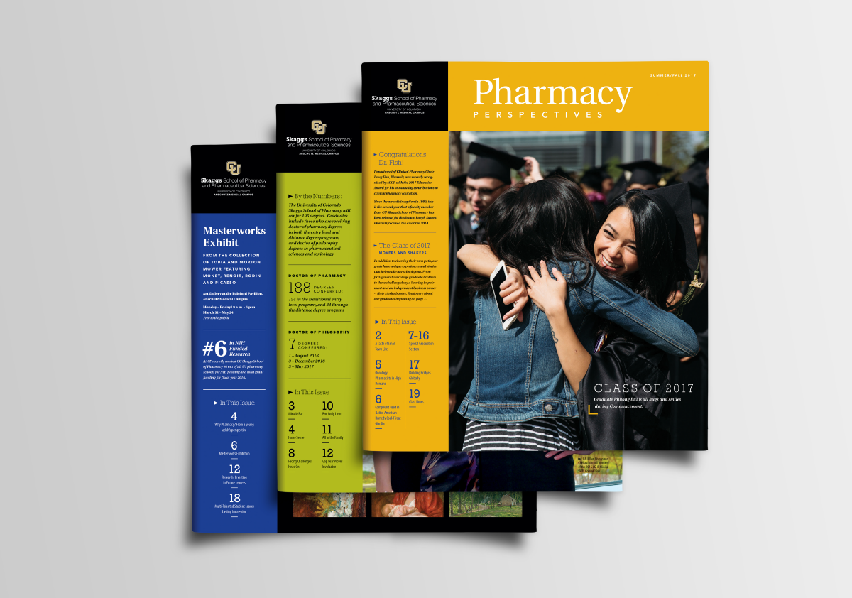 CU Skaggs School of Pharmacy, Ozzmata Pharmacy Perspectives Publication Cover Designs