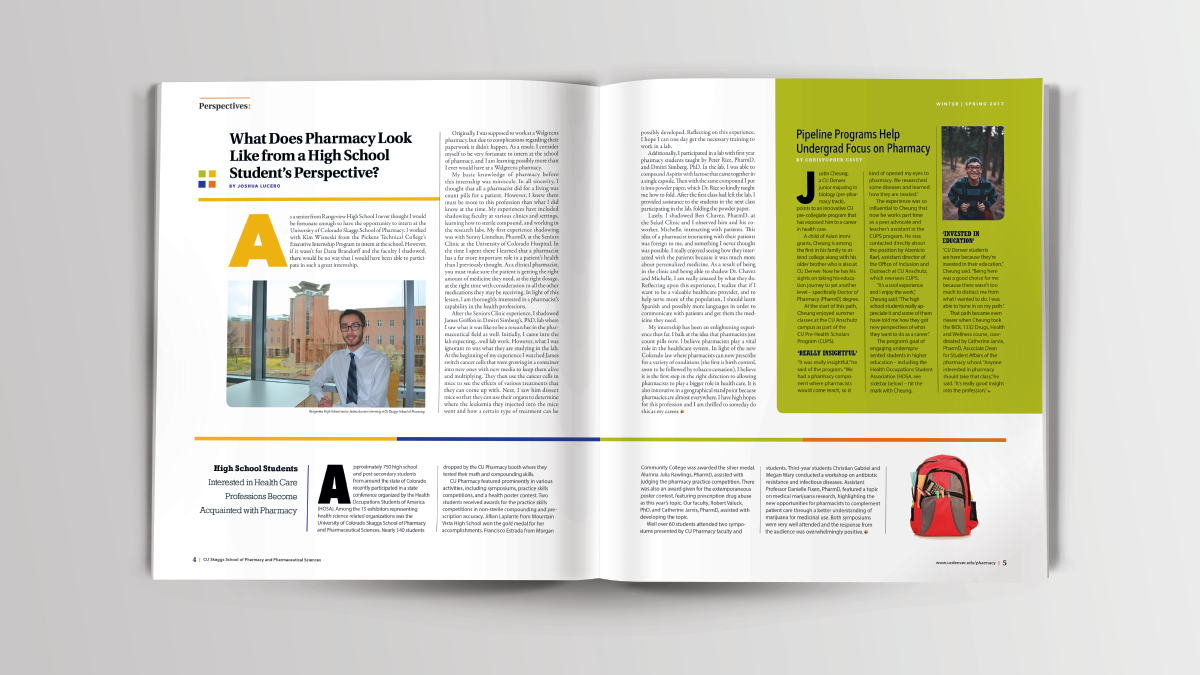 CU Skaggs School of Pharmacy, Ozzmata Pharmacy Perspectives Publication Spread Designs