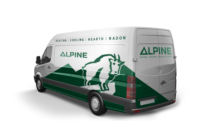 Image of Alpine Climate control Ozzmata branding, brand identity and vehicle wrap design