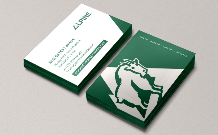 Image of Alpine Climate control Ozzmata branding, brand identity and business card design