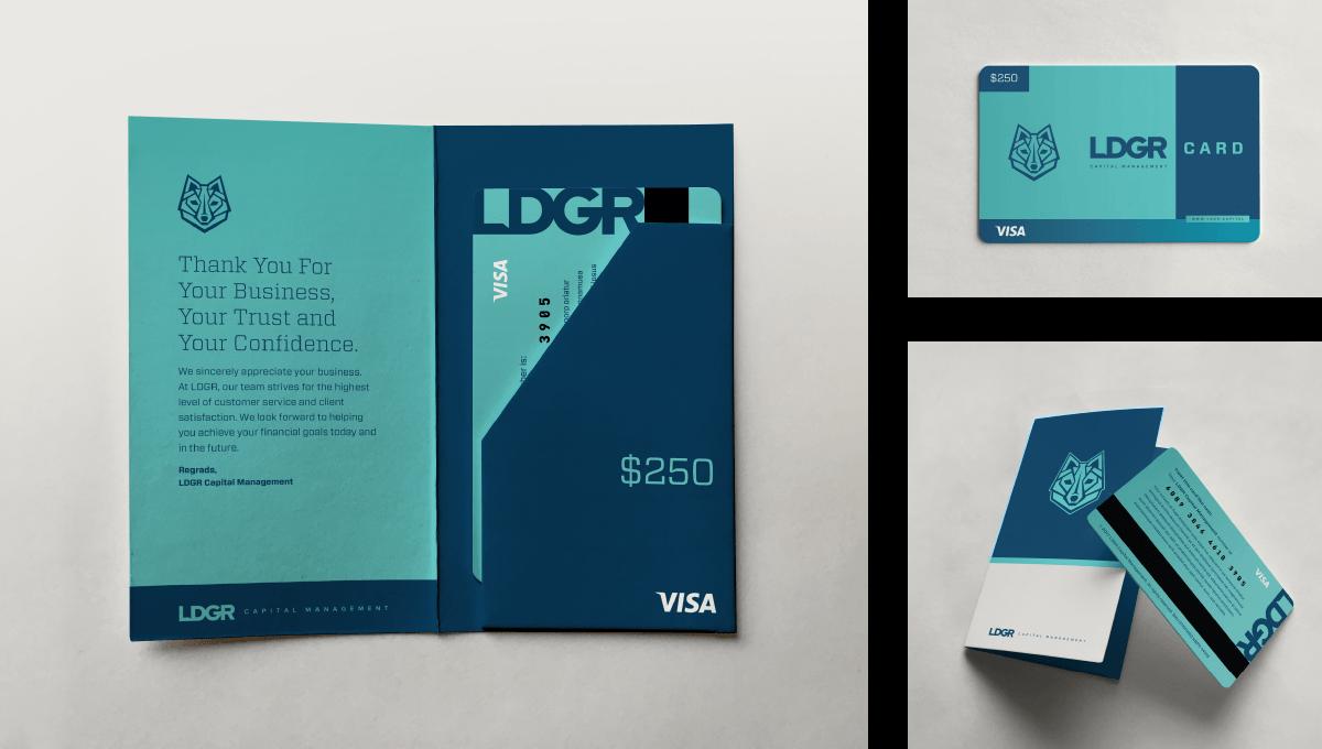 LDGR Capital Management branded gift card designed by Ozzmata